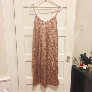 Zara Rose Gold Sequin evening dress